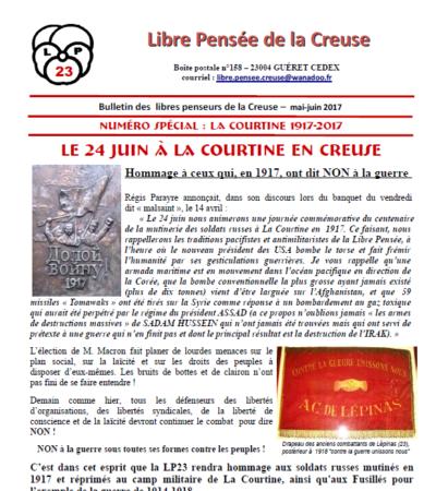 La Courtine 1917-2017 : N° spécial du bulletin de la LP de la Creuse